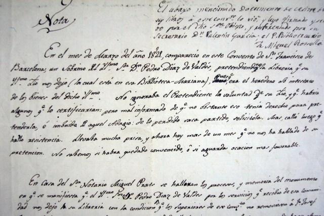 carta de 1821 dins de Ms 1505