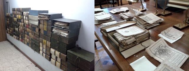 Figura 1. Caixes que contenien el fons de portades abans de ser organitzades; taula de treball durant la classificació d'una de les caixes per països