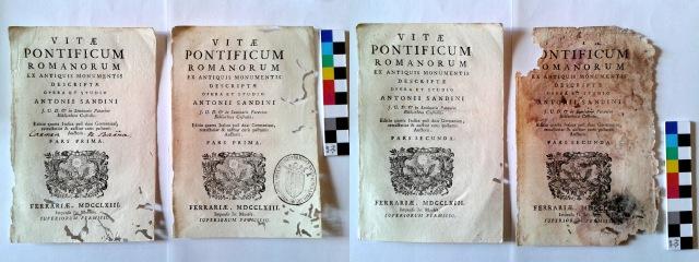 Figura 2. Diferents estats de conservació del fons de portades. Curiosament, es tracta del mateix llibre i, possiblement, de la mateixa edició