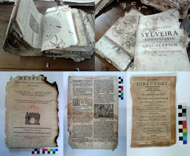 Figura 3. Documents doblegats per encabir-los dins les caixes; fang sec; calcinacions a les vores del document; aureoles creades per l'absorció d'aigua bruta; oxidació als laterals pel contacte amb les cobertes